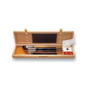 Estuche madera 5 Pinceles de acuarela Da Vinci.
