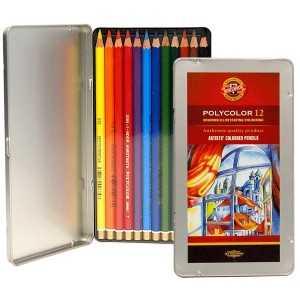Caja Metálica 12 Lápices de Colores Polycolor . Koh I Noor