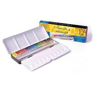 Caja Metalica 12 1/2 pastillas Sennelier + 12 espacios