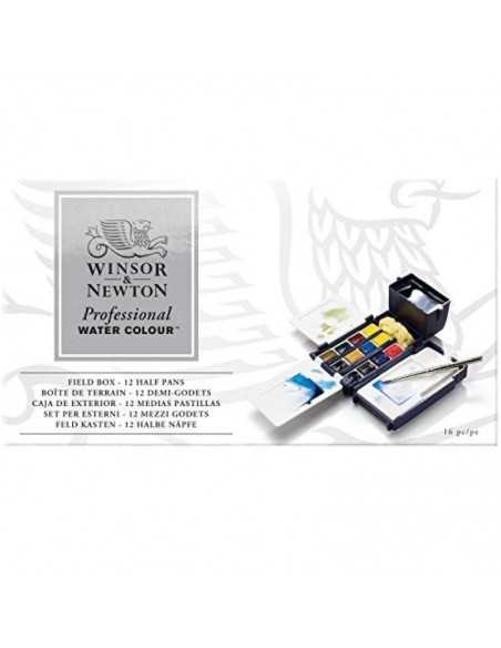 Caja de Exterior de Acuarelas Winsor & Newton Profesional -12 Medias Pastillas