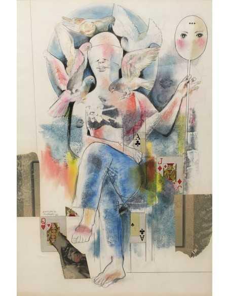 Antonio Ojeda. Ludopatía. Técnica mista/ Papel. 50 x 71 cms. 2000