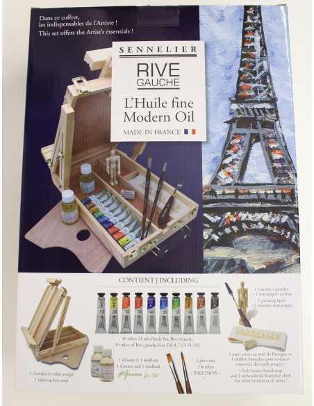 Caja De madera 14x40ml tubos óleo Rive Gauche + accesorios Sennelier