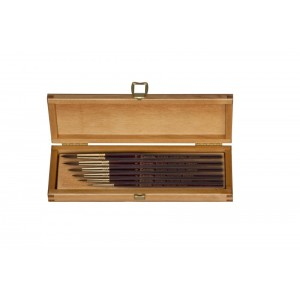 Estuche madera Serie Reserva. 6 pinceles Kolinsky. 1200