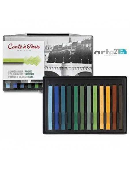 "Juego 12 barras Surtidas de Conté a Paris ""Colores Pasteles"""