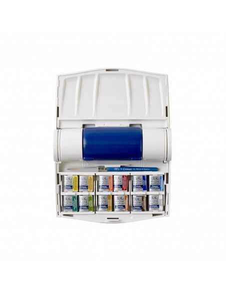 Caja de campo Plus Winsor&Newton Cotman 12 medias pastillas + pincel + depósito