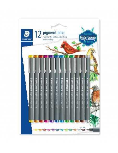 Set 12 Rotuladores Calibrados de Colores Staedtler Pigment Liner 0,5