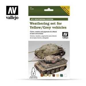 Sets Model Air Vallejo. Colores Efectos gris/amarillo . 7 colores