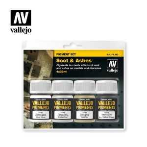 Sets Pigmento Vallejo. Hollín y Cenizas. 4 colores. 35 ml.