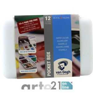 Caja Acuarela VAN GOGH. Pocket Box. 12 + 3 pastillas y pincel