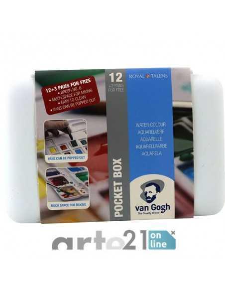 Caja Acuarela VAN GOGH. Pocket Box. 12 y 3 pastillas.