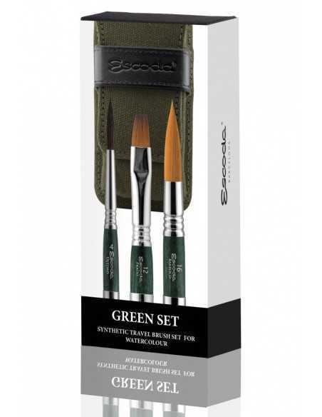 Set Verde ESCODA. Pinceles sintéticos acuarela