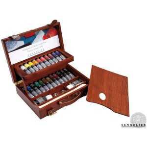 Caja Madera Lujo OLEO SENNELIER. 22 Colores 40 ml.