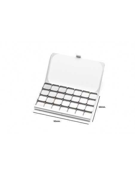 Media Paleta Art Toolkit Acero Inoxidable Imantada (55mm. x 45mm.) con 12 Mini Godets (13mm. x 13mm.)