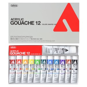HOLBEIN ACRYLA GOUACHE 11 Tubos 20 ml y  Tubo Blanco 40 ml.