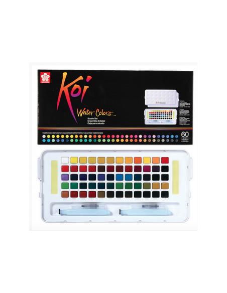 Caja Acuarela KOI SAKURA. 60 colores. Medias Godet