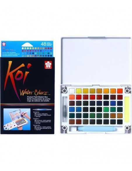 Caja Acuarela KOI SAKURA. 48 colores. Medias Godet