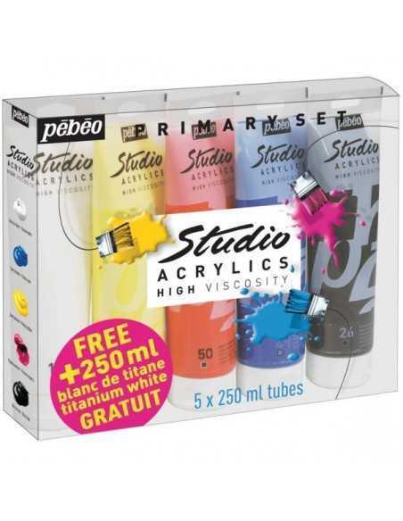 Pack de 5 Colores Primarios de Acrilico Pebeo de 250ml.
