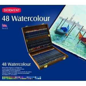 Caja de Madera Derwent Acuarelable 48 Lápices