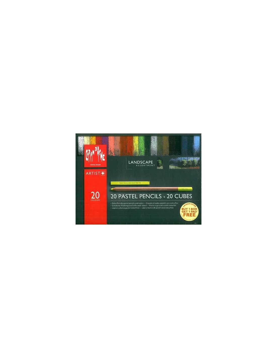 Caran d'ache Lápices Pastel-Caja de 40 Lápices Fino Seco Pastel De Colores Surtidos